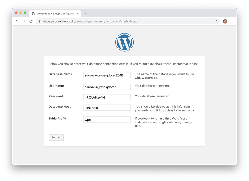 wordpress 5 minute install 3 enter database details