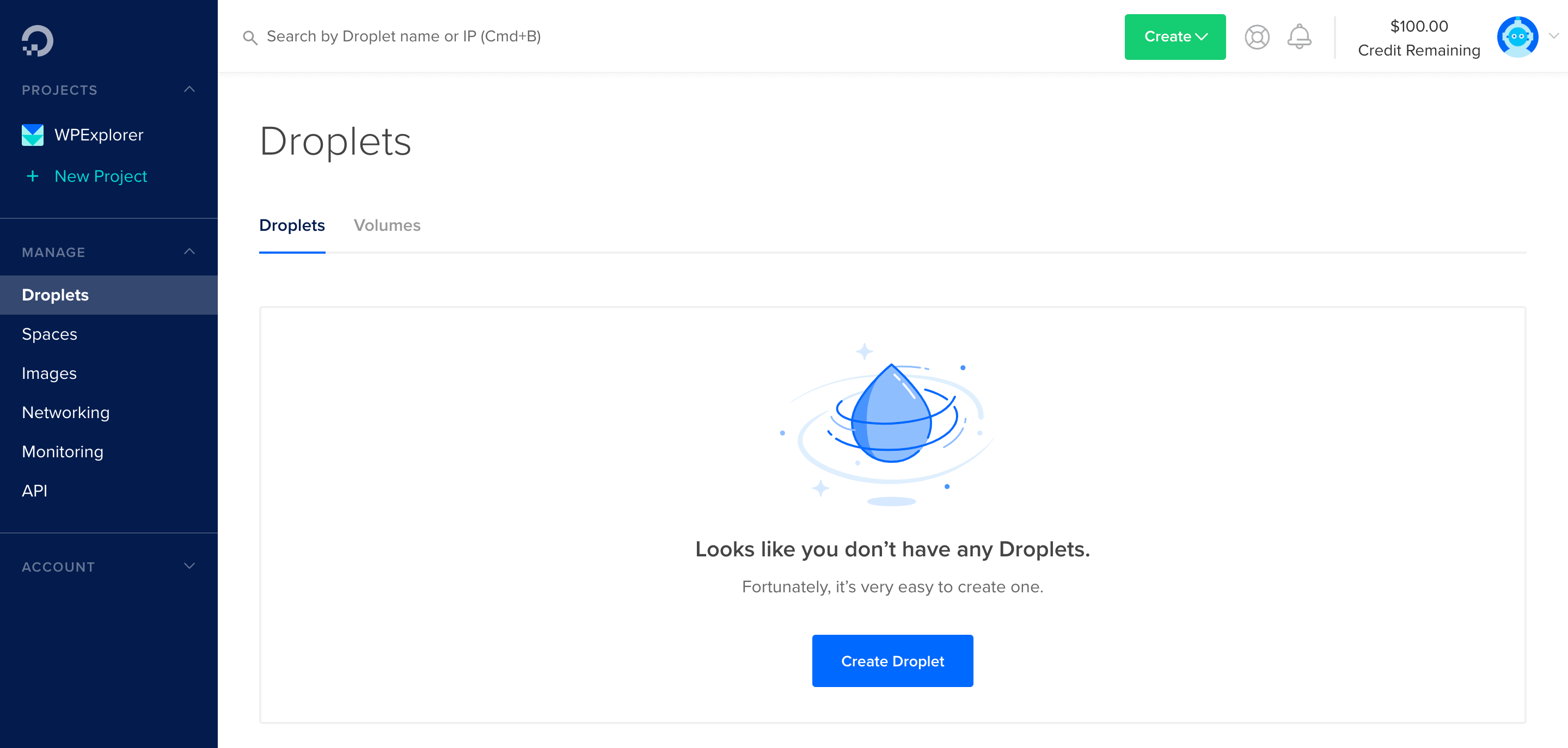 create a new droplet in digitalocean in wordpress