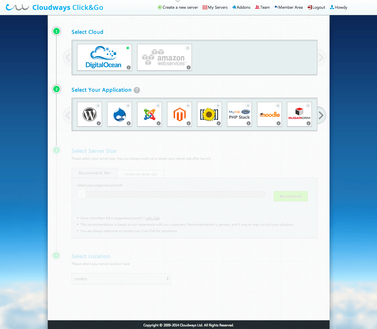 Cloudways: Choose Your Application