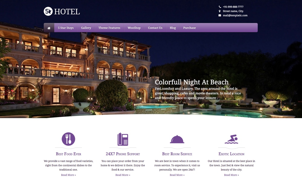 5 Star Hotel WordPress Theme