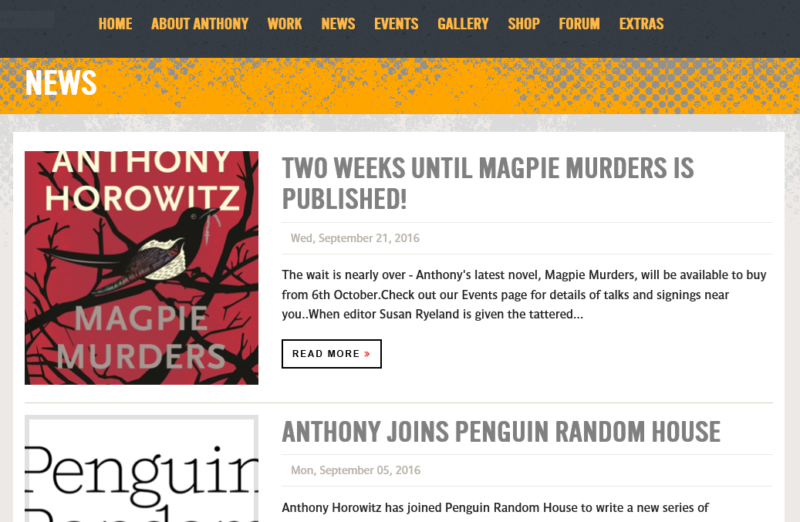 Anthony Horowitz's news page.