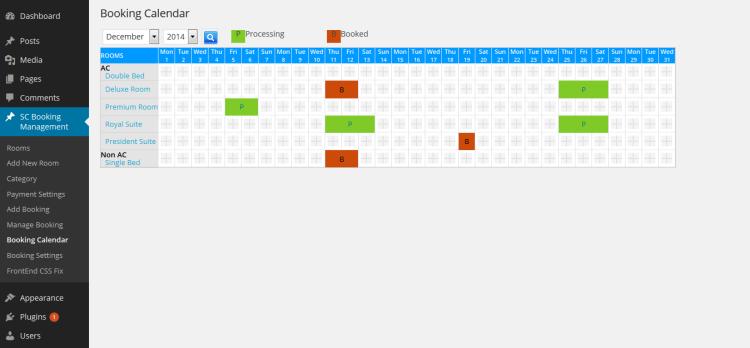 Backend Booking Calendar