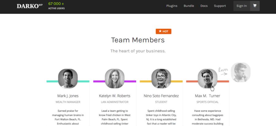 Complemento de WordPress de Darko Team Members Pro