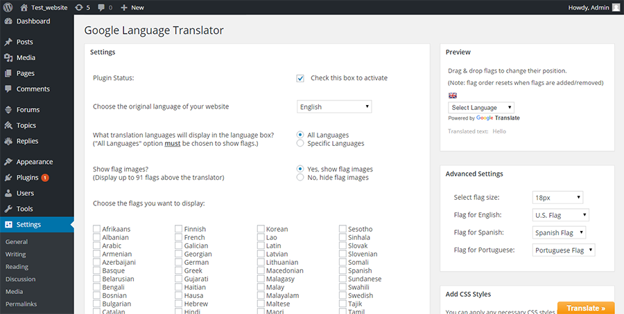 WordPress Multilingual Plugins: Google Language Translator