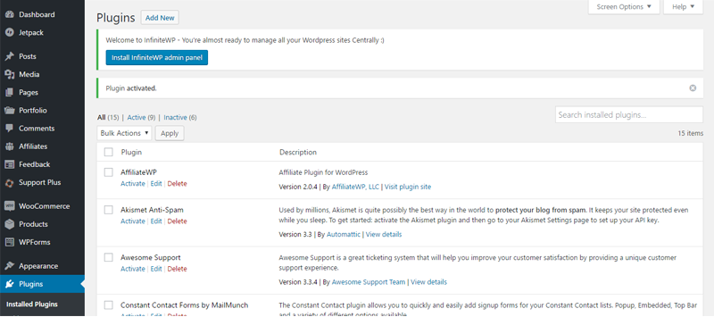 InfiniteWP WordPress management tool