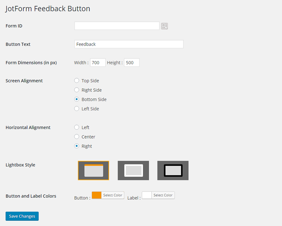 JotForm Feedback Button