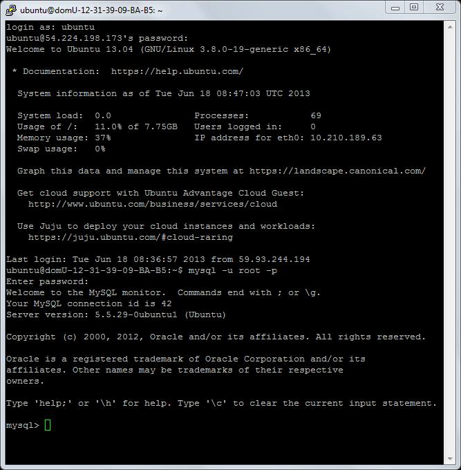 Logging into MySQL on a remote server VPS