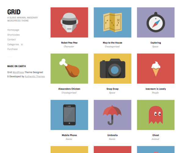 Grid Minimal Portfolio WordPress Theme