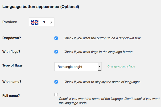 Weglot Translate Design options