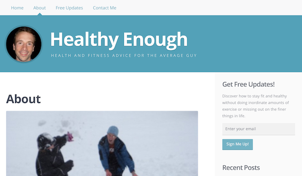 The About page from my newest blog, Healthy Enough.