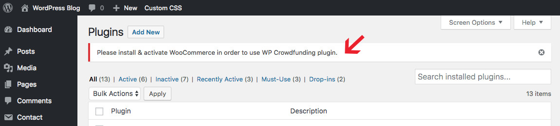 WP Crowdfunding Activate WooCommerce