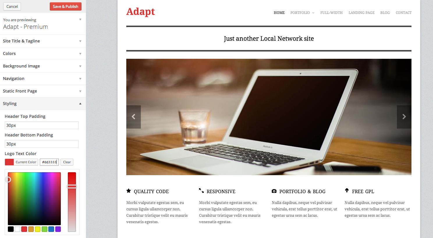 Adapt Free Responsive Business Portfolio WordPress Theme -WPExplorer
