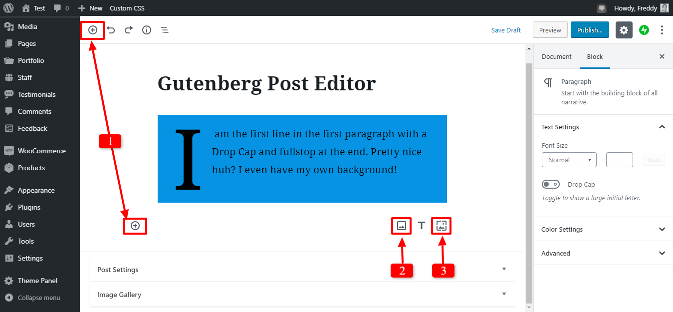 adding a new image in gutenberg editor