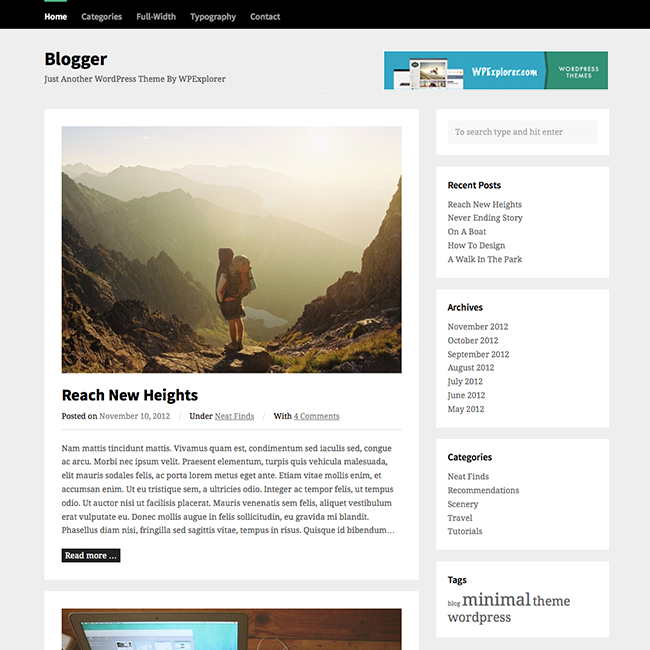 Blog: Blogger Free WordPress Theme