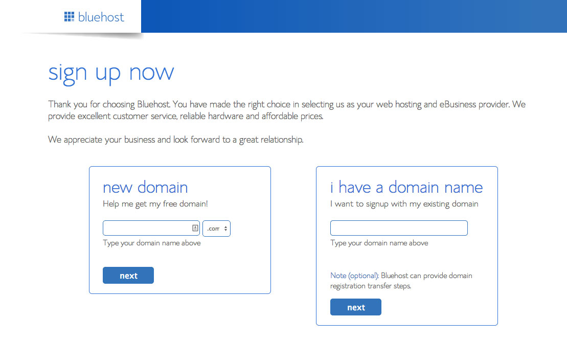 Getting started with the hosting signup process