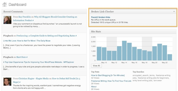 A través de la WordPress Dashboard