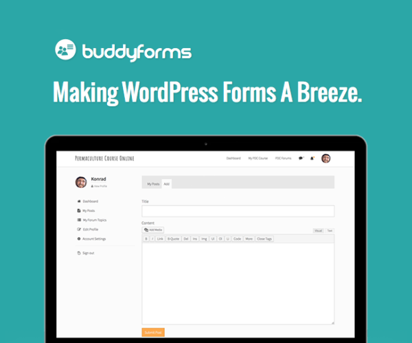 BuddyForms Form Builder & Front-end Post Editor WordPress Plugin