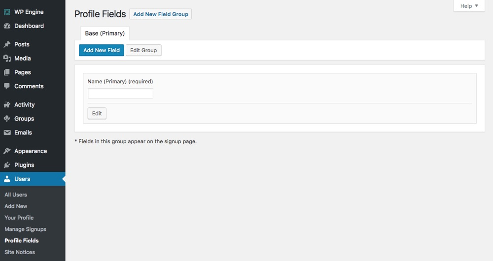 BuddyPress Custom Profile Fields