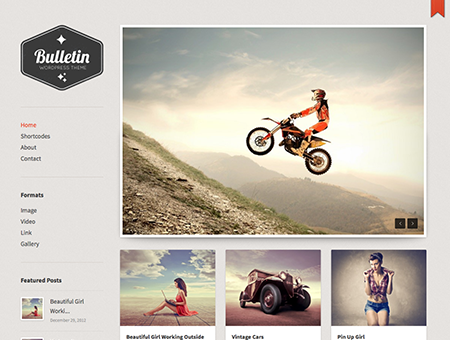 Bulletin Tumblog Style WordPress Theme for Blogging