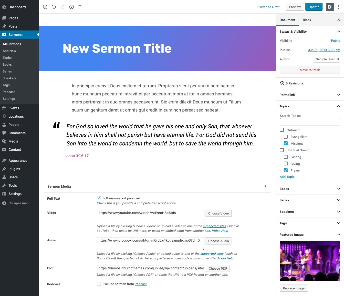 Church Sermon Editor