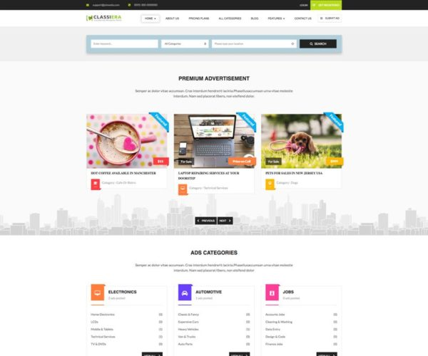 Classiera Classified Ads Directory WordPress Theme