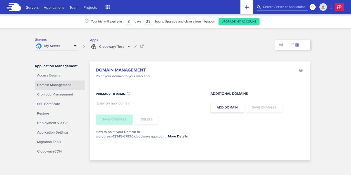 Cloudways Application Domain Management