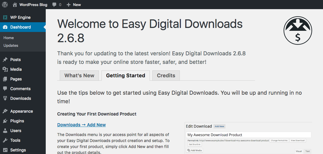 Easy Digital Downloads WordPress Plugin Installed