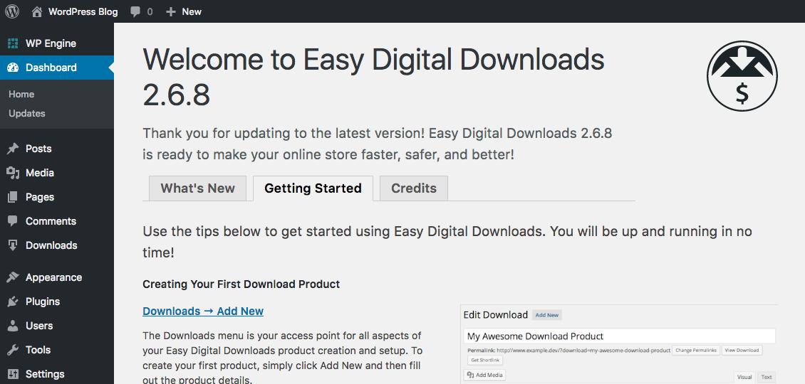 Easy Digital Downloads WordPress Plugin Installed