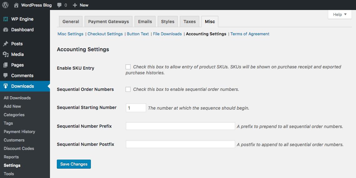 Easy Digital Downloads Accounting Settings