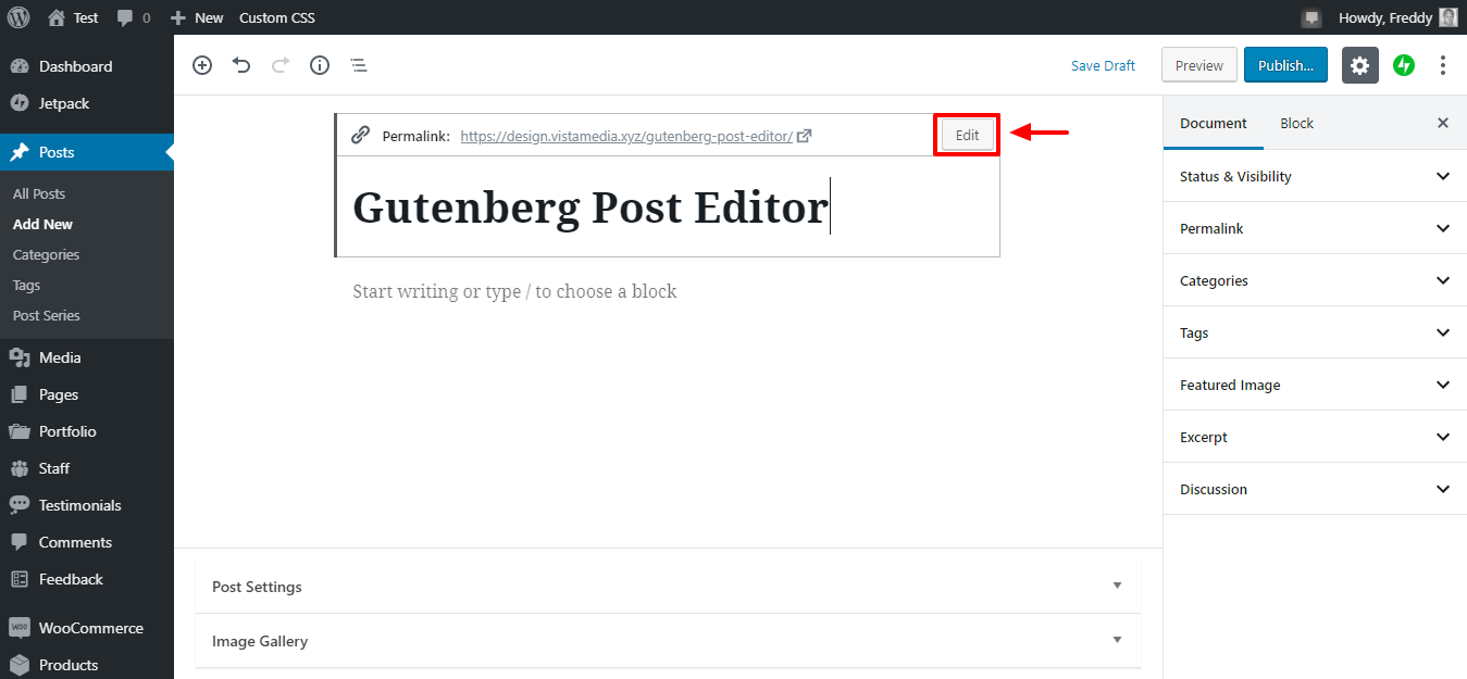 edit post permalink in gutenberg