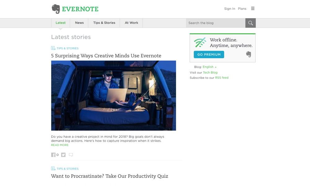 Big Name Brands That Use WordPress: Evernote Blog