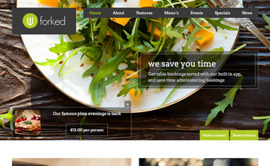 Forked Restaurant WordPress Theme