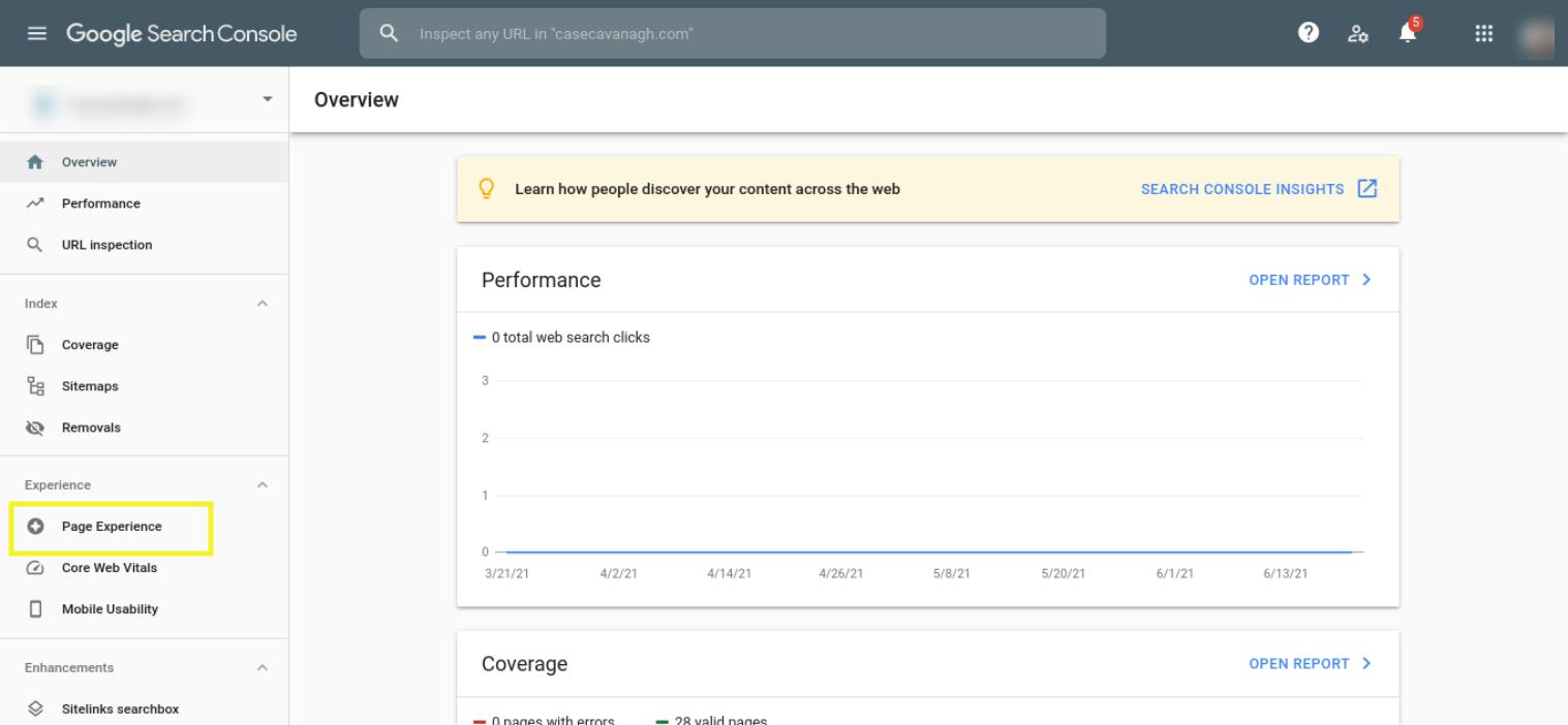 Google Pagina-ervaringsrapport