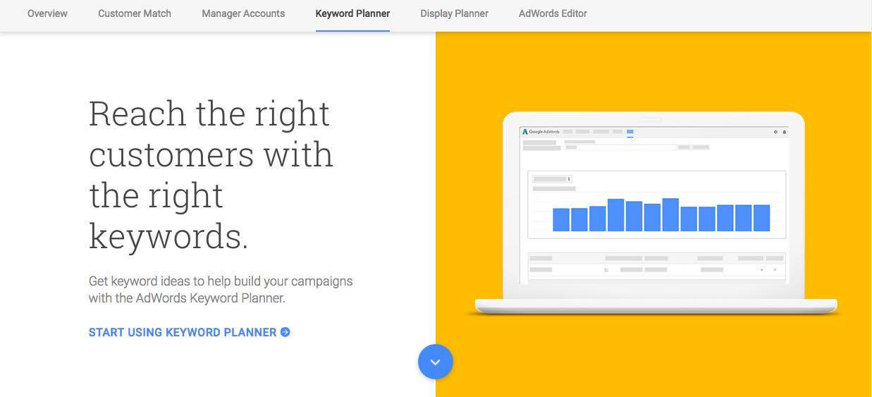 Screenshot of google keyword planner