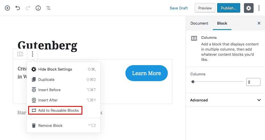 Gutenberg Reusable Content Blocks Step 1