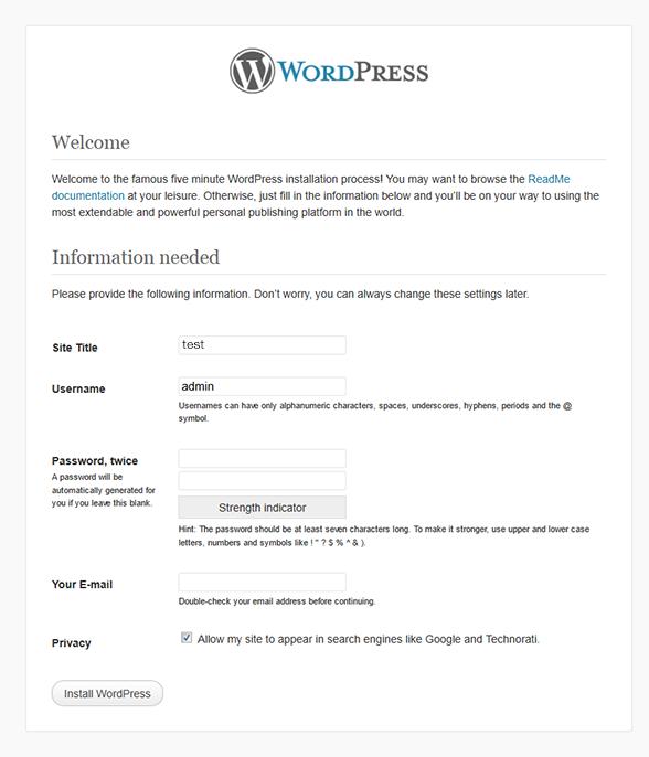 WordPress Install Welcome