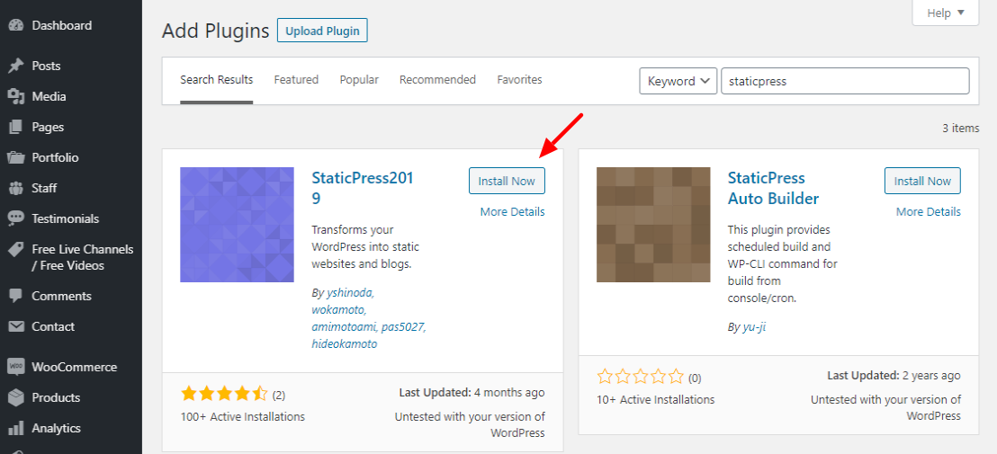 creating a static website with wordpress