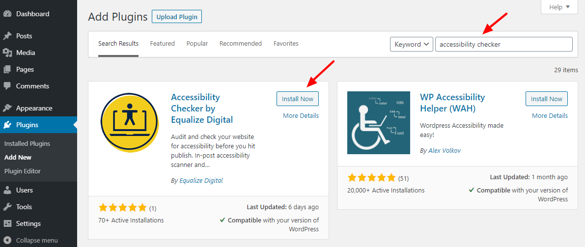installing the accessibility checker plugin
