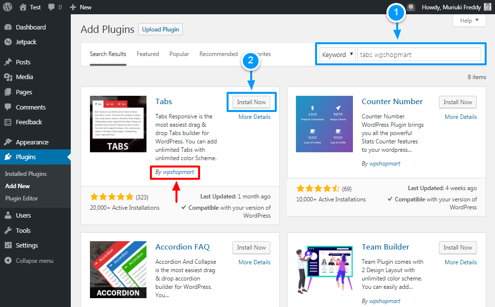 installing the tabs wordpress plugin
