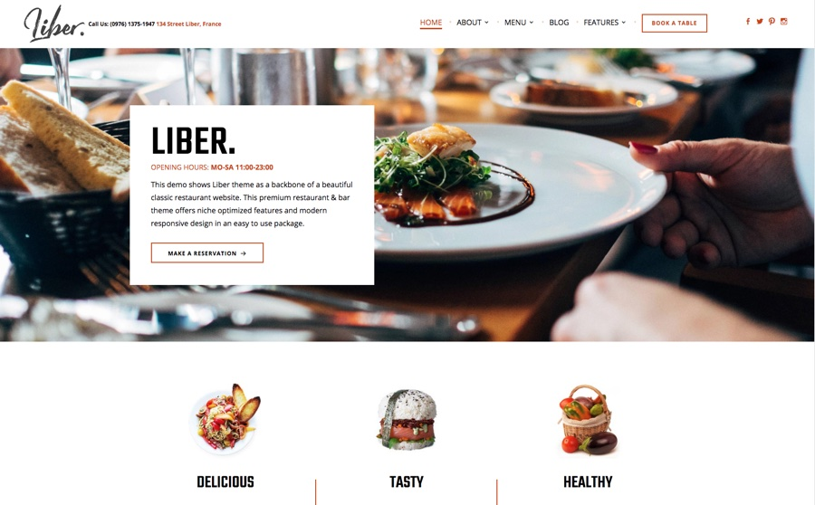 Liber Ultimate Restaurant & Bar WordPress Theme