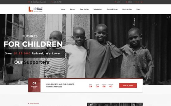 Lifeline 2 Ultimate Nonprofit WordPress Theme for Charities