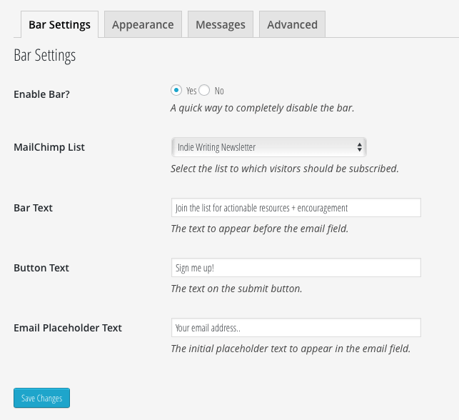 MailChimp for WordPress Top Bar Settings