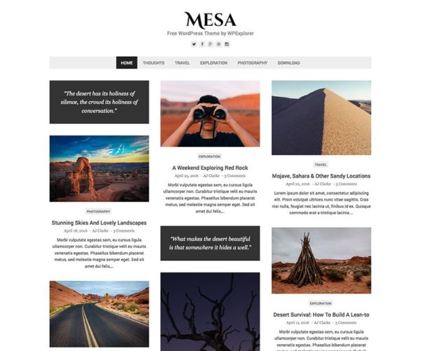 Mesa Free Blog WordPress Theme