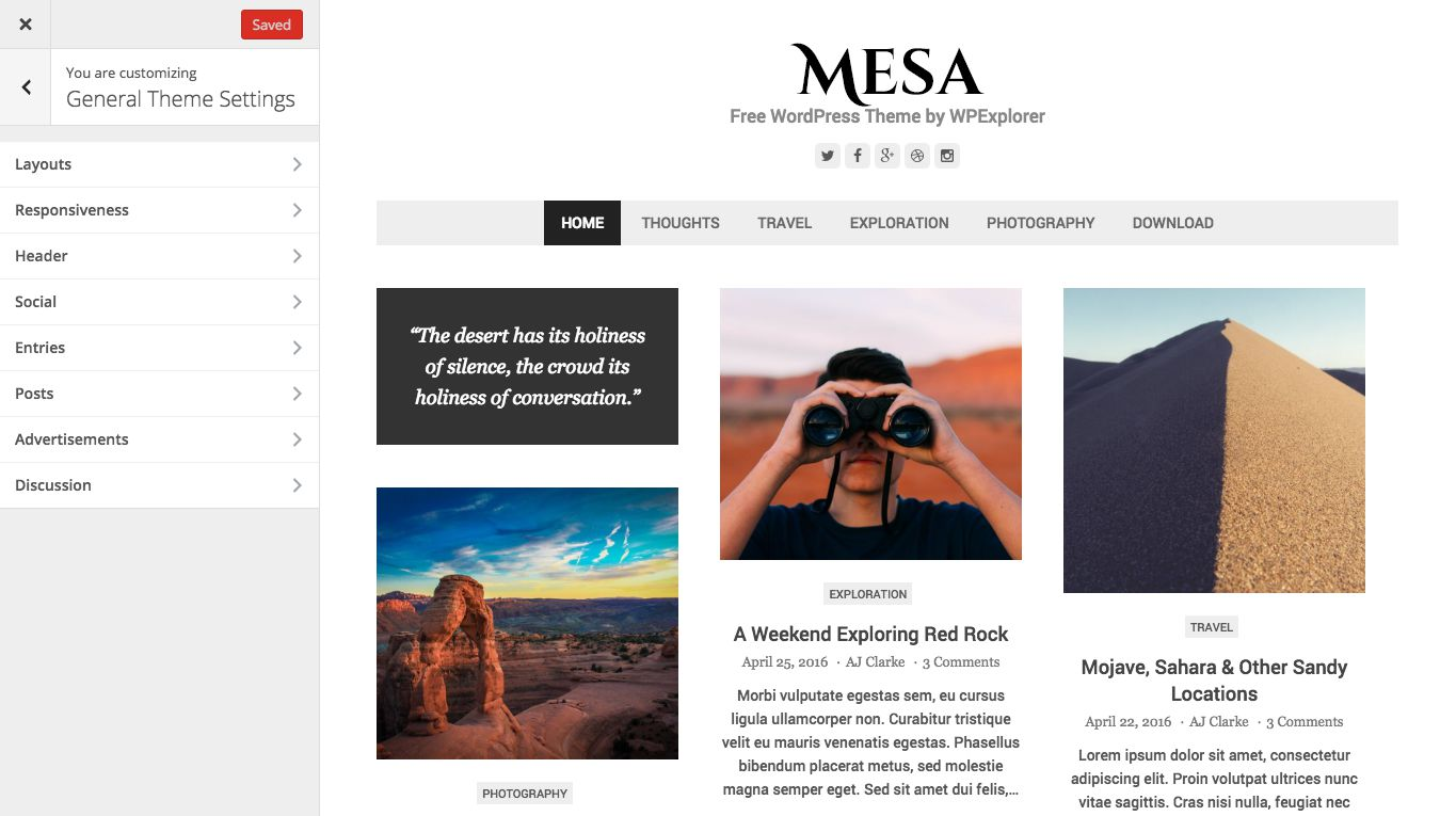 Mesa WordPress Theme Customizer