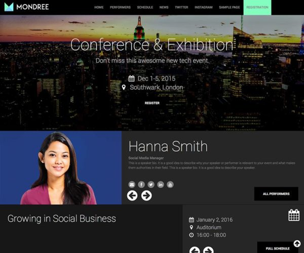Mondree Event Management WordPress Theme