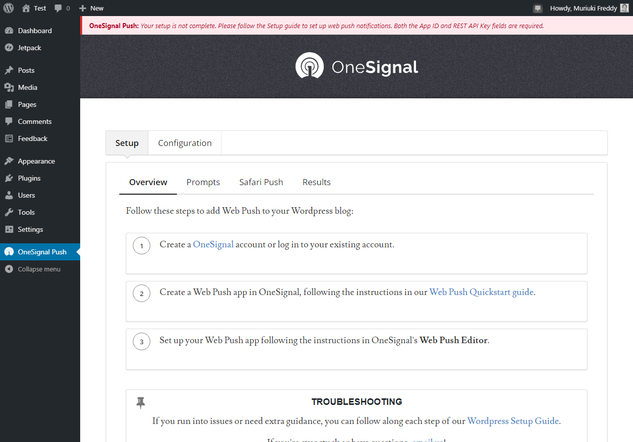 onesignal settings page in wordpress admin