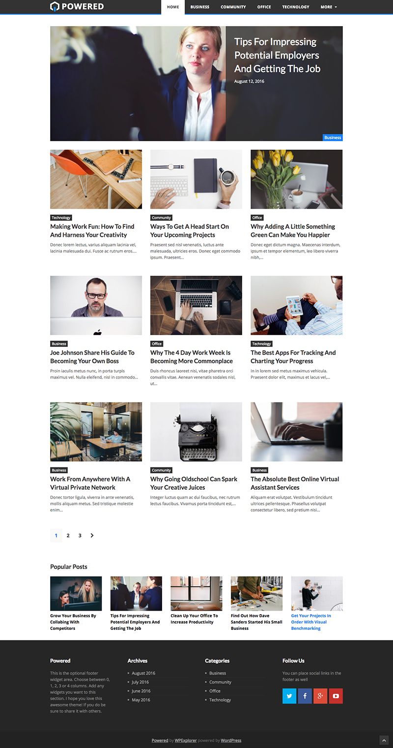 Powered Free Gpl Blogging Wordpress Theme 2016