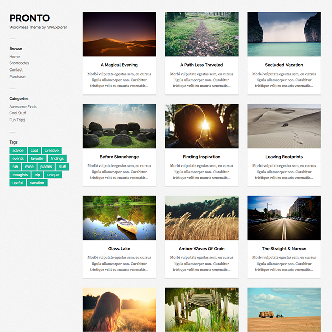 Pronto Free Masonry Gallery WordPress Theme
