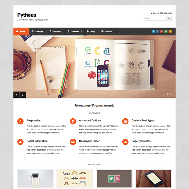Pytheas free responsive corporate portfolio wordpress theme for Create blog page template wordpress
