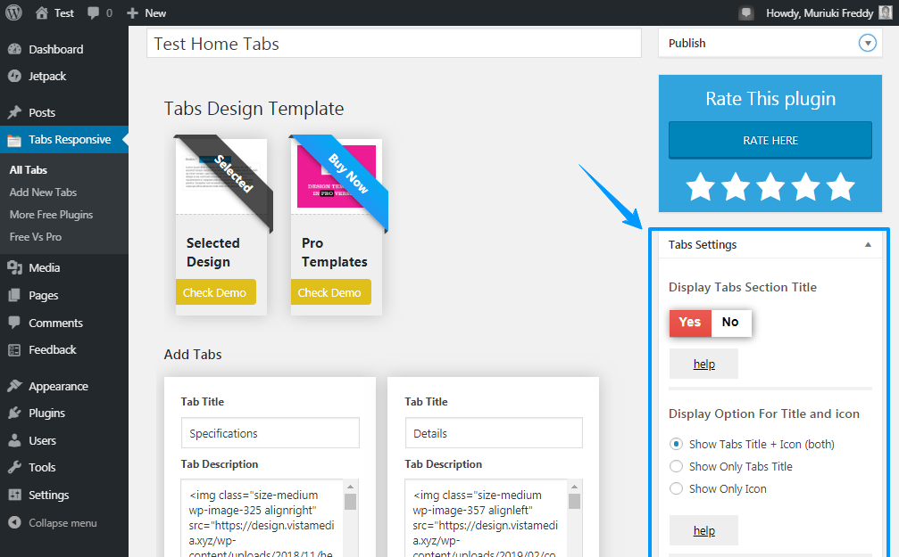 tabs wordpress plugin styling options